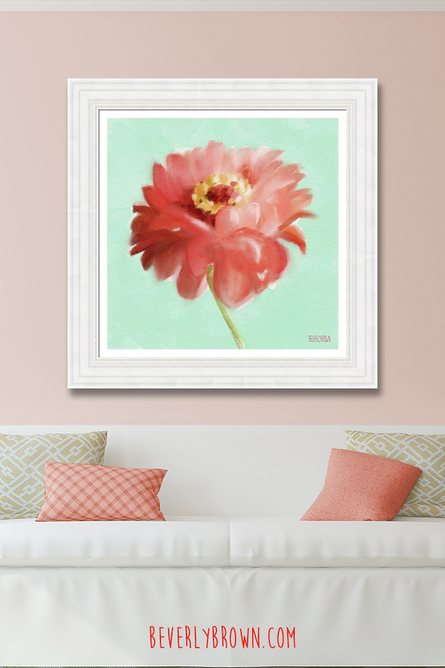 Pink living room with coral and mint framed floral art by Beverly Brown