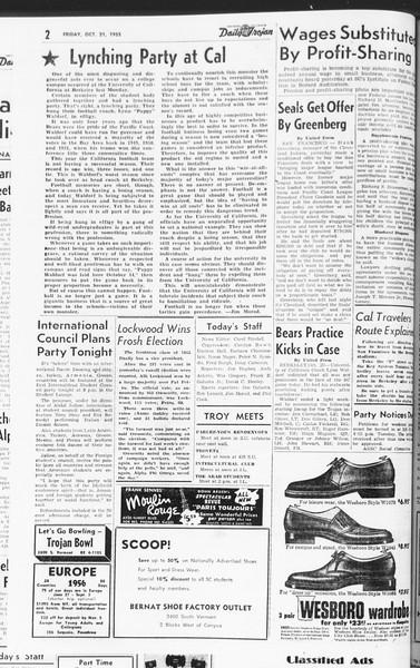 Daily Trojan, Vol. 47, No. 26, October 21, 1955