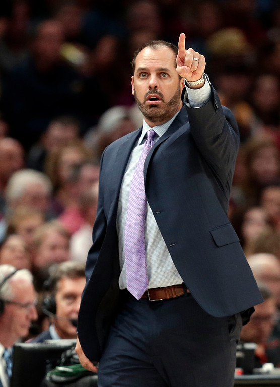 . Orlando Magic head coach Frank Vogel reacts in the second half of an NBA basketball game against the Cleveland Cavaliers, Saturday, Oct. 21, 2017, in Cleveland. (AP Photo/Tony Dejak)