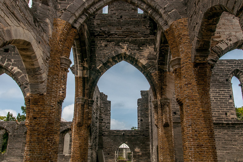 Inside unfinished church in St. George's Island, Bermuda