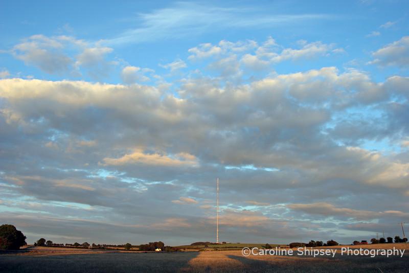 Evening light on the Mendip Hills, looking towards Pen Hill mast.
