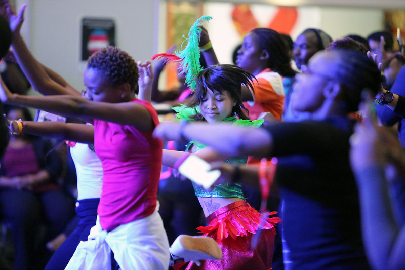 21st International AIDS Conference (AIDS 2016), Durban, South Africa. Tuesday 19th July 2016, VENUE : Global Village, Main Stage Random event, of people exercising and having fun Photo©International AIDS Society/Abhi Indrarajan