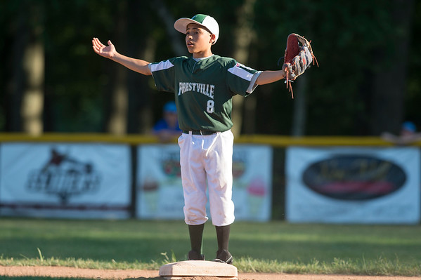 07/08/19 Wesley Bunnell | Staff Forrestville vs Southington North Little League baseball at Recreation Park in Southington on Monday July 8, 2019. Hector Martinez (8) stands on second base.