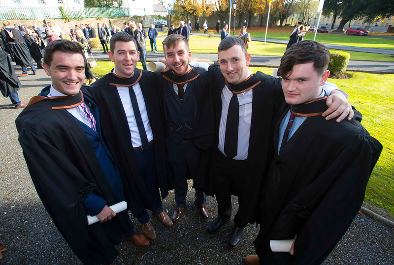02/11/2016. Waterford Institute of Technology (WIT) Conferring Ceremonies November 2016. Pictured are James Deasy, Ballyhale, Kilkenny, Paul Farrell, Clonmel, Shane Gibbins, Cashel, Denis Brennan, Castlecomer, Kilkenny, Adrain Barry, Ferrybank, Waterford who graduated Bachelor of Laws (Hons). Picture: Patrick Browne