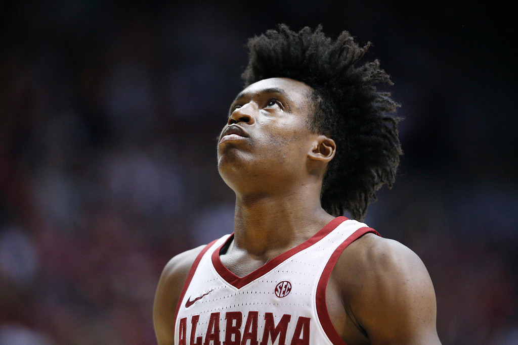. Alabama guard Collin Sexton looks towards the basket before the game begins against Tennessee before an NCAA college basketball game on Saturday, Feb. 10, 2018, in Tuscaloosa, Ala. (AP Photo/Brynn Anderson)