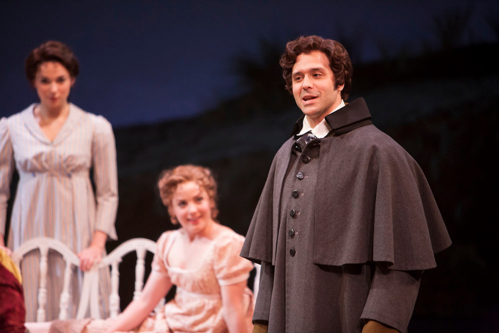 """. Right to left: Jeremiah James, Mary Michael Patterson and Stephanie Rothenberg the world premiere production of Jeffrey Haddow and Neal Hampton\'s \""""Sense & Sensibility The Musical.\""""   Photo by Jennifer M. Koskinen"""