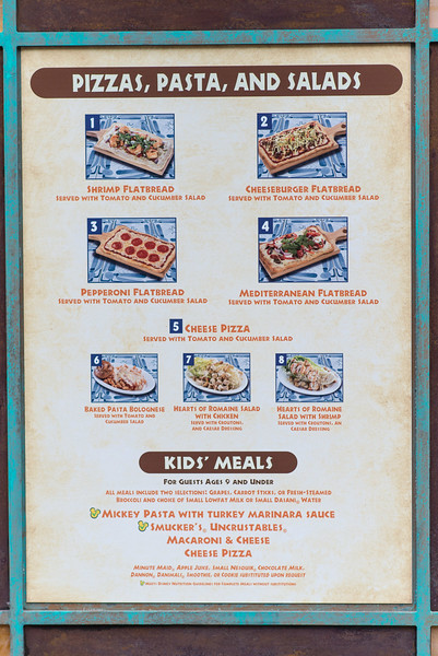 Pizzafari Menu - No Prices - Animal Kingdom Walt Disney World