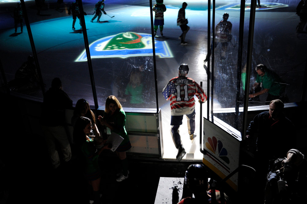 . Denver Cutthroats\' 39-year-old forward Brad Smyth skated onto the rink before the game Friday night. Smyth has played for an incredible 21 different pro hockey teams in his career. The Allen Americans defeated the Denver Cutthroats 2-1 Friday night at the Denver Coliseum. Smyth had the team\'s only goal in the loss. Karl Gehring/The Denver Post