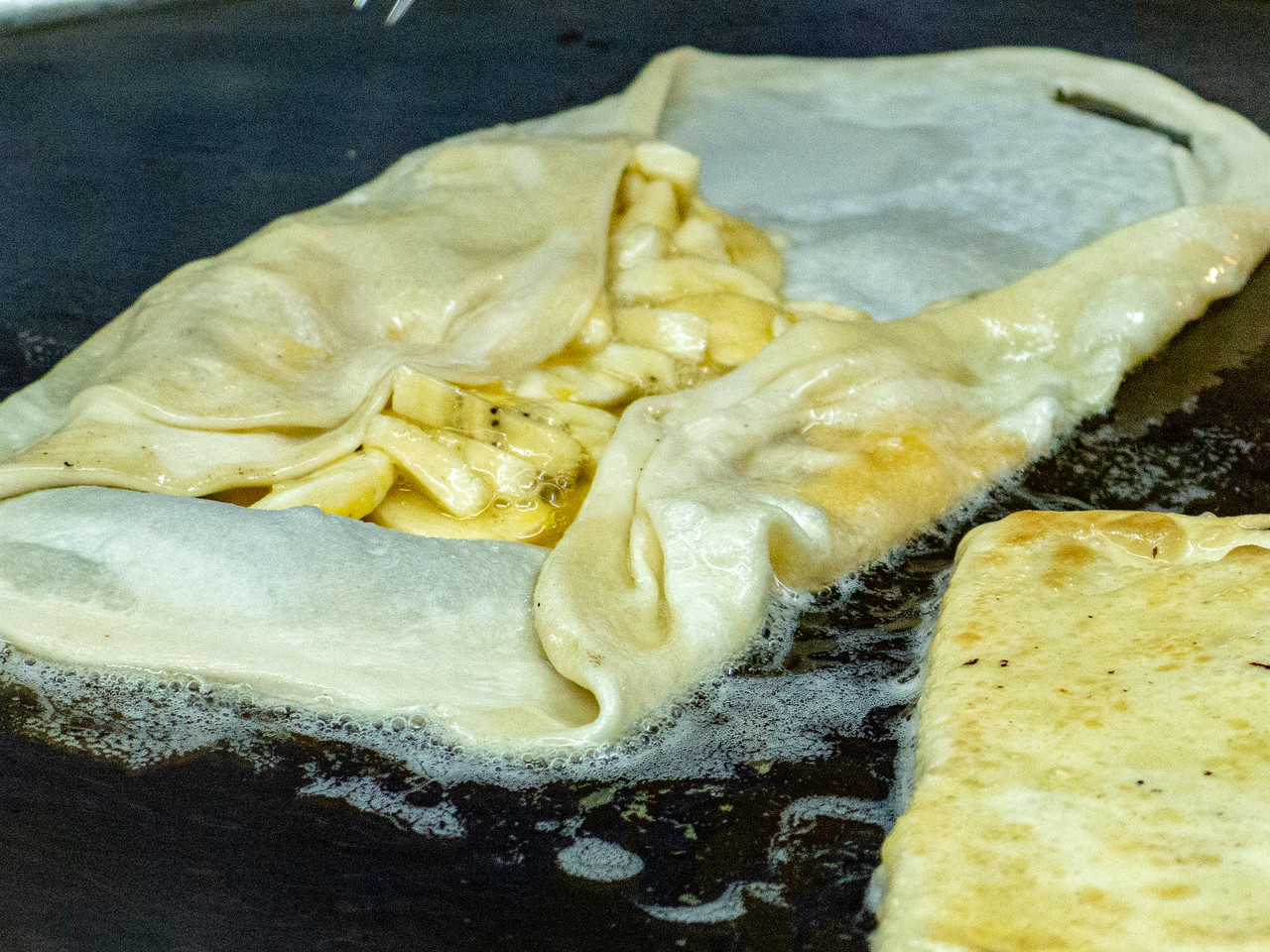 Banana Roti Cooking on the Grill