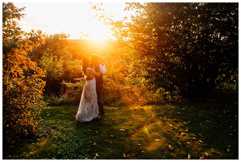 langley sunset wedding portrait