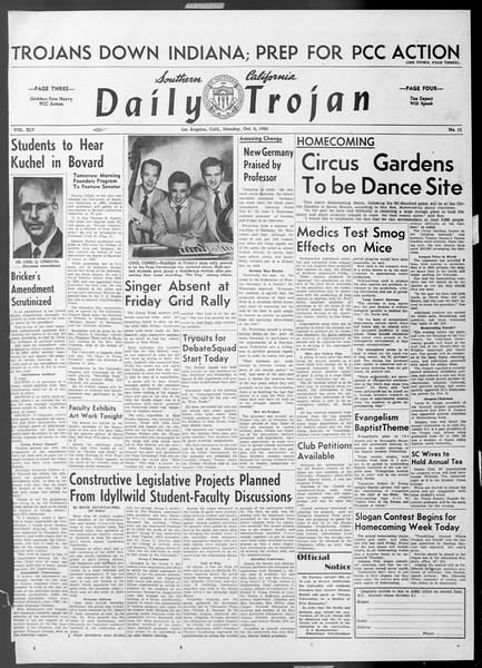 Daily Trojan, Vol. 45, No. 11, October 05, 1953