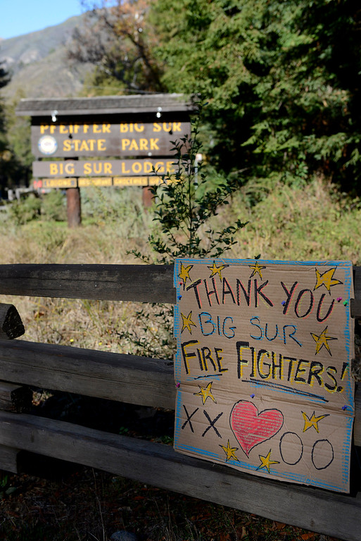 . A sign thanking firefighters hangs outside their main camp at Pfeiffer Big Sur State Park in Big Sur, Calif. on Friday December 20, 2013. (Photo David Royal/ Monterey County Herald)