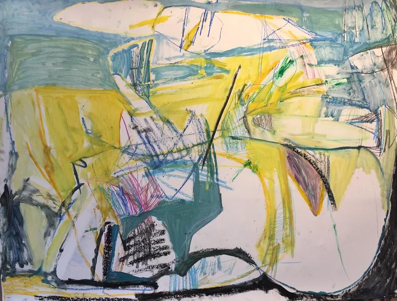 """oil & graphite on paper, 38 x 50"""""""