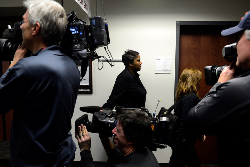 . People exit the courtroom for a break in the hearing for James Holmes at the Arapahoe County Justice Center on Tuesday, January 8, 2012. AAron Ontiveroz, The Denver Post