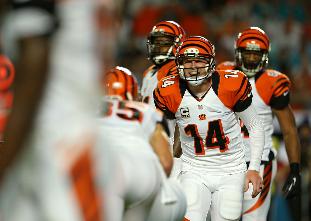 . MIAMI GARDENS, FL - OCTOBER 31:  Andy Dalton #14 of the Cincinnati Bengals calls a play during a game against the Miami Dolphins at Sun Life Stadium on October 31, 2013 in Miami Gardens, Florida.  (Photo by Mike Ehrmann/Getty Images)