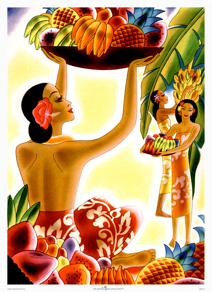 001: Frank Macintosh: 'Fruit Harvest'. - This Frank Macintosh Hawaii cruise ship menu cover from ca. 1940 belongs to a series of menus he designed which were used on navigational routes between the US mainland and Hawaii.