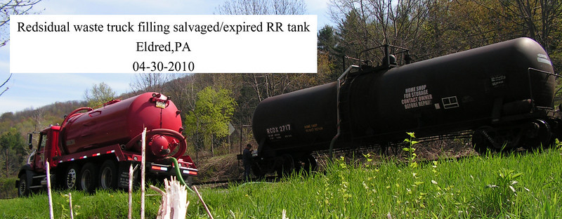 Taken in Eldred, pa 4-30-2010 Residual waste truck filling a RR tank with brine from a local drilling operation.