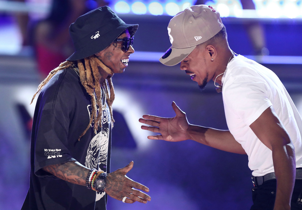 ". Lil Wayne, left, and Chance The Rapper perform ""I\'m The One\"" at the BET Awards at the Microsoft Theater on Sunday, June 25, 2017, in Los Angeles. (Photo by Matt Sayles/Invision/AP)"