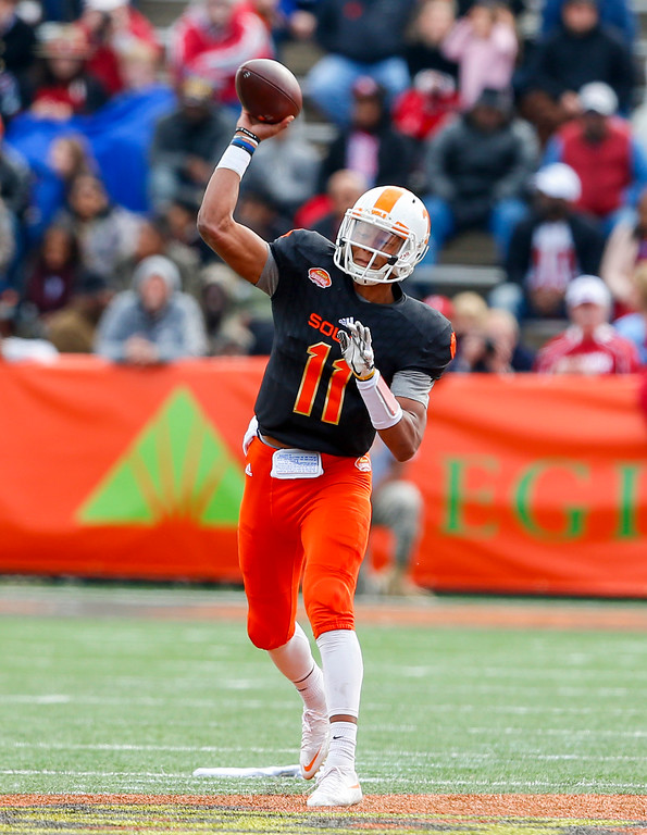 . South squad quarterback Josh Dobbs of Tennessee (11) throws a pass against the North squad during the first half of the Senior Bowl NCAA college football game, Saturday, Jan. 28, 2017, at Ladd-Peebles Stadium in Mobile, Ala. (AP Photo/Butch Dill)