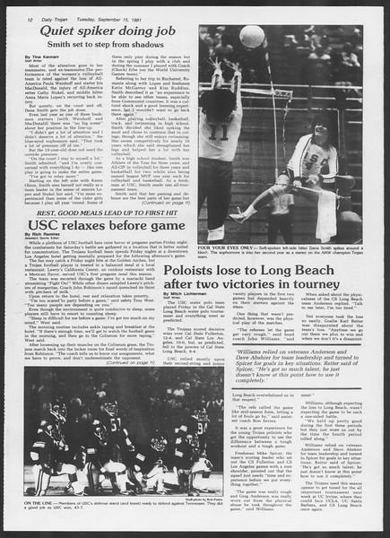 Daily Trojan, Vol. 91, No. 10, September 15, 1981