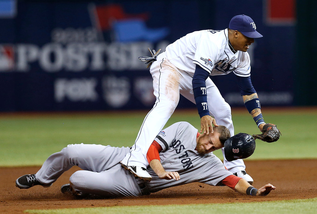 . Boston Red Sox\'s Will Middlebrooks (16) slides under Tampa Bay Rays shortstop Yunel Escobar (11) after he was tagged out on a double play in the third inning in Game 4 of an American League baseball division series, Tuesday, Oct. 8, 2013, in St. Petersburg, Fla. (AP Photo/Mike Carlson)