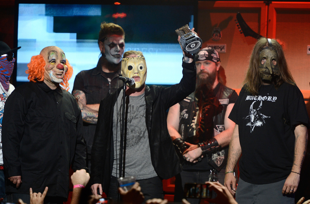 . Slipknot on stage at the 5th Annual Revolver Golden Gods Award Show  at Club Nokia on May 2, 2013 in Los Angeles, California.  (Photo by Frazer Harrison/Getty Images)