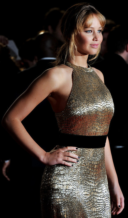 . US actress, Jennifer Lawrence attends the European Premiere of \'The Hunger Games\' in east London on March 14, 2012. BEN STANSALL/AFP/Getty Images