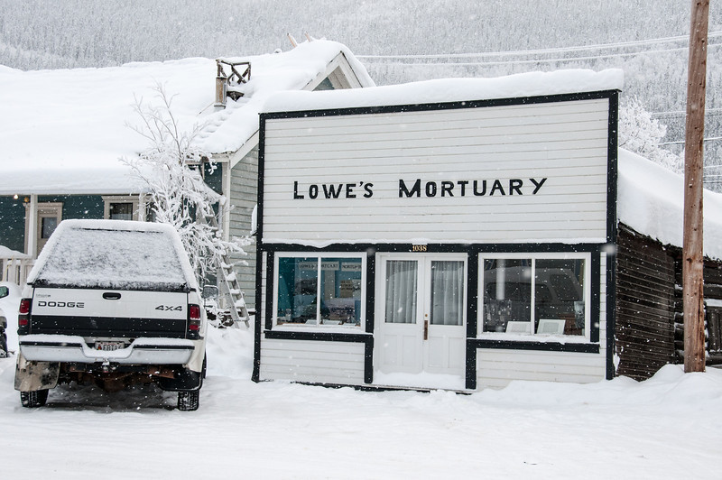 Mortuary during winter in Dawson City, Yukon, Canada