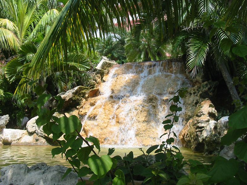 Waterfall on hotel grounds
