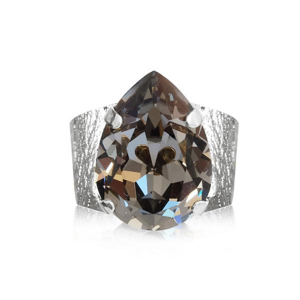 Classic Drop Ring / Black Diamond / Rhodium
