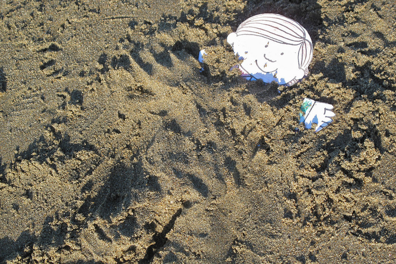 Flat Stanley gets  buried in the sand at Ocean Beach, San Francisco.