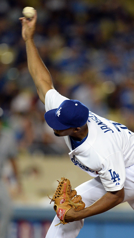 . The Dodgers� Kenley Jansen #74 delivers in the ninth inning during their game against the Padres at Dodger Stadium Thursday, August 21, 2014. The Dodgrs beat the Padres 2-1. (Photo by Hans Gutknecht/Los Angeles Daily News)