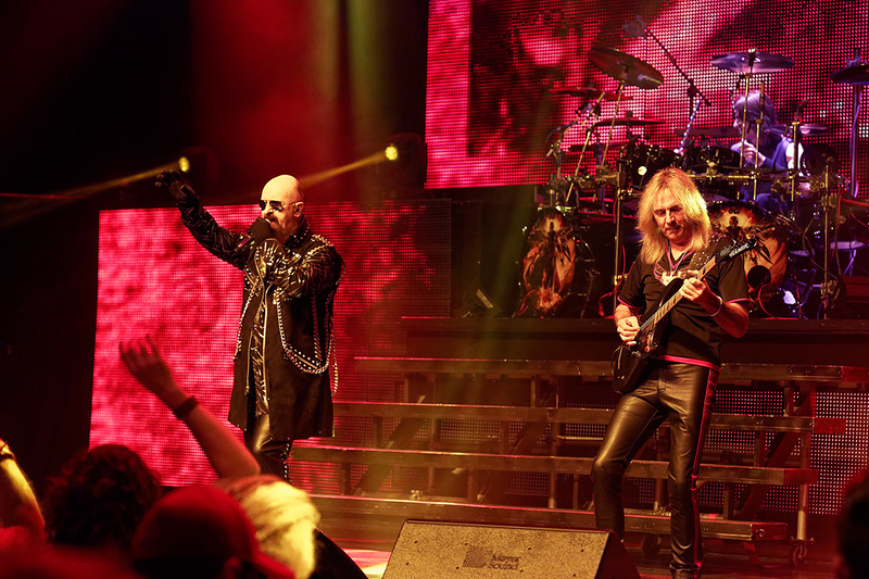 . Rob Halford and Glenn Tipton of Judas Priest at The Fox on Oct. 19, 2014. Photo by Ken Settle