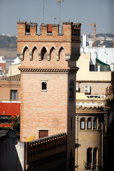 Tower from the Marques de la Motilla palace, contemporary building in neo-Gothic style, Seville, Spain