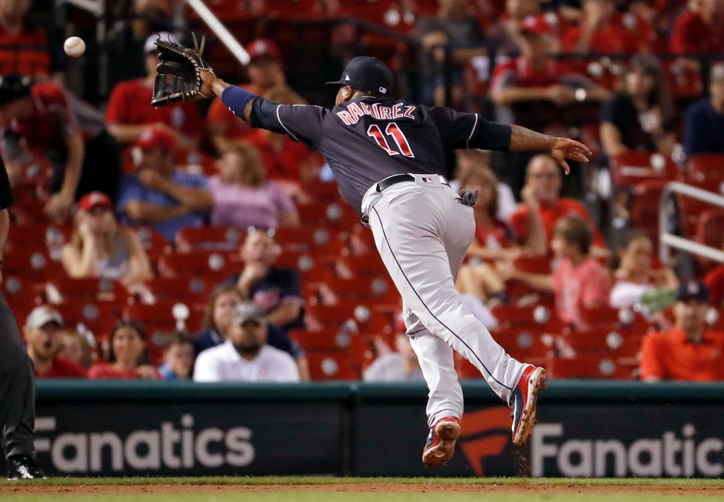 . Cleveland Indians third baseman Jose Ramirez is unable to catch a double by St. Louis Cardinals\' Yadier Molina during the eighth inning of a baseball game Monday, June 25, 2018, in St. Louis. (AP Photo/Jeff Roberson)