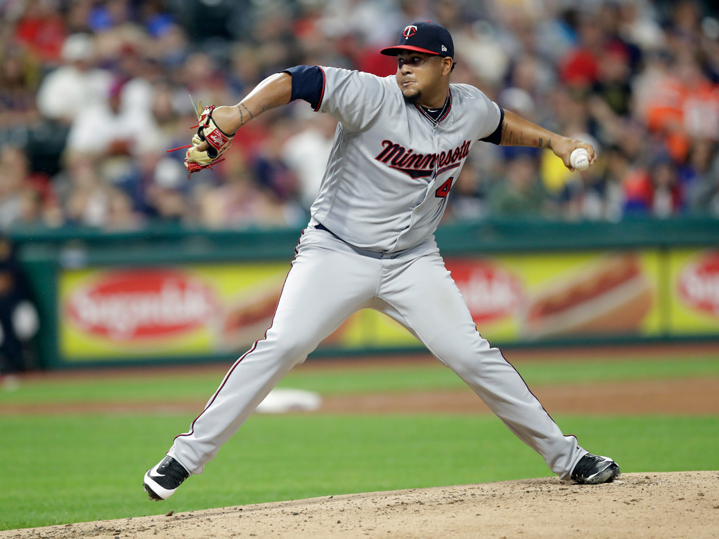 . Minnesota Twins starter pitcher Adalberto Mejia delivers in the first inning of a baseball game against the Cleveland Indians, Tuesday, Aug. 7, 2018, in Cleveland. (AP Photo/Tony Dejak)