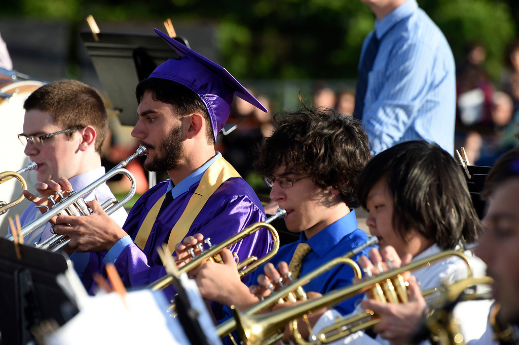. Kayla Rice/Reformer BUHS graduate Jonathon Burdo plays the trumpet with the band at the BUHS graduation ceremony on Friday evening.