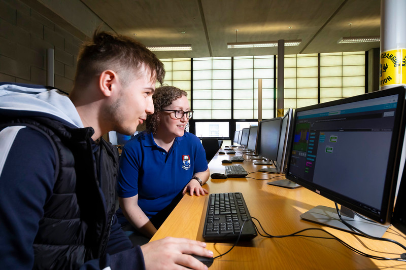 30/03/2019. FREE TO USE IMAGE. Thousands of CAO, part-time and postgraduate applicants visited WIT's Spring open events on Friday evening and Saturday morning. WIT is Ireland's top ranked institute of technology. Pictured are Daniel Moga from Cahir with Rosanne Burney WIT computing lecturer . Picture: Patrick Browne