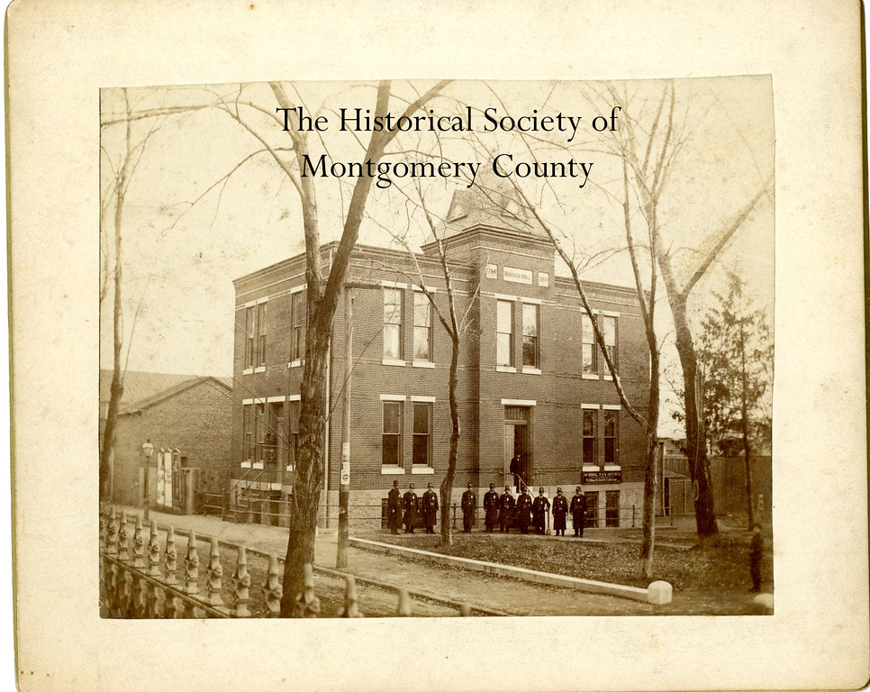 . This photo from the Historical Society of Montgomery County shows the old borough hall in Norristown sometime between 1900 and 1910. Standing in front of the building are police officers.