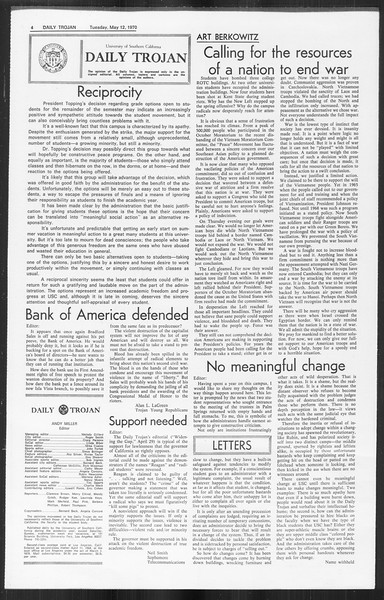 Daily Trojan, Vol. 61, No. 123, May 12, 1970