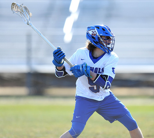 4/10/2019 Mike Orazzi | Staff St. Paul's Brycen Kennedy (5) during boys lacrosse with Watertown in Bristol Wednesday.