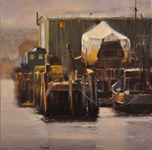 After Rain, November, Gloucester (Glucester,MA) Oil on Canvas, 24X24  Awards:  Third Place 25th Annual Members Carriage House Juried Exhibition, Art League of New Britain, New Britain, CT 2015