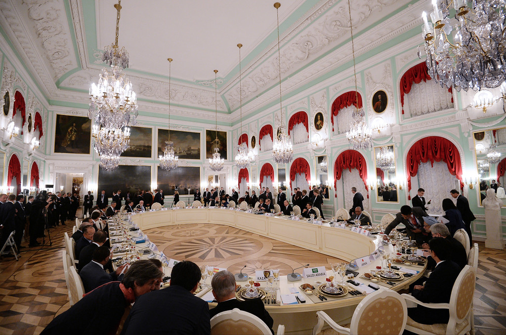 . In this handout image provided by Host Photo Agency, G20 Summit members attend a working dinner for G20 Summit members September 5, 2013 in St. Petersburg, Russia.   (Photo by Ramil Sitdikov/Host Photo Agency via Getty Images)