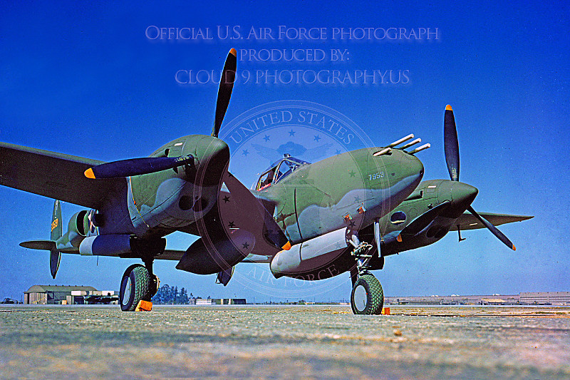 P-38 00001 A static olive drab US Army Air Corps Lockheed P-38 Lightning WWII era fighter, military airplane picture, Official USAF Picture .JPG