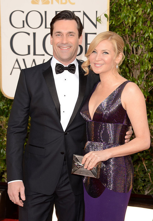 . Actor Jon Hamm (L) and actress-filmmaker Jennifer Westfeldt arrive at the 70th Annual Golden Globe Awards held at The Beverly Hilton Hotel on January 13, 2013 in Beverly Hills, California.  (Photo by Jason Merritt/Getty Images)