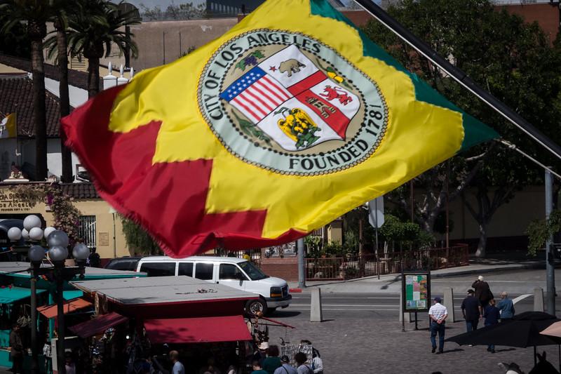March 22 - Flag of Los Angeles flying over El Pueblo-1.jpg