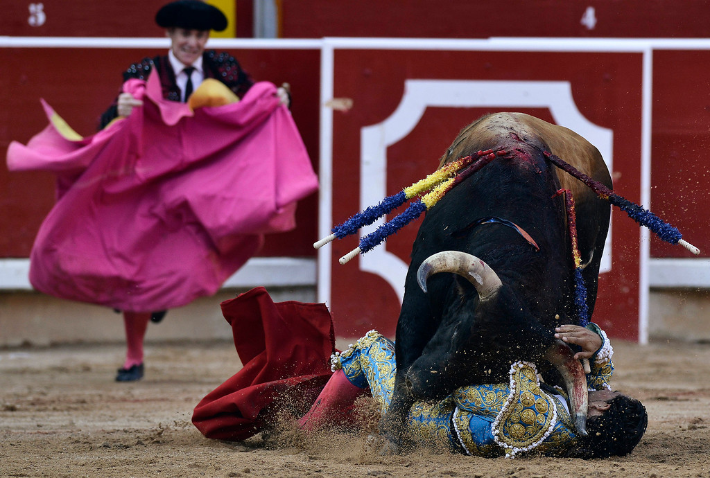 . Spanish bullfighter Ivan Fandino, is gored by one Torrestrella\' ranch bull,  in the bull ring, at the San Fermin fiestas, in Pamplona northern Spain on Thursday, July 11, 2013. (AP Photo/Alvaro Barrientos)