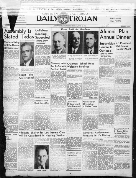 Southern California Daily Trojan: U.S.C. Institute of Government, Vol. 6, No. 1, June 12, 1939