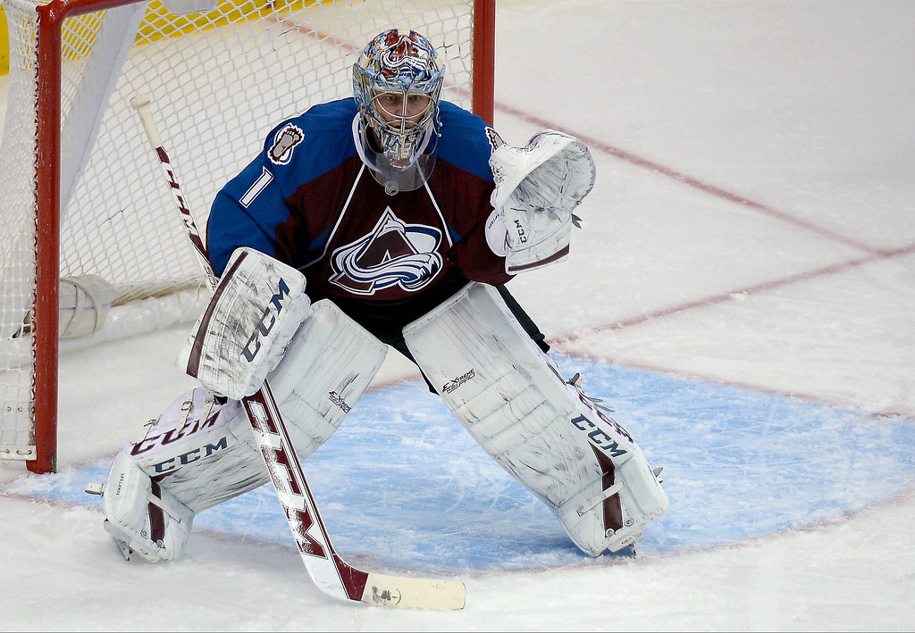 . Colorado Avalanche goalie Semyon Varlamov (1) takes his stand in goal agains the Chicago Blackhawks in the second period November 19, 2013 at Pepsi Center. (Photo by John Leyba/The Denver Post)