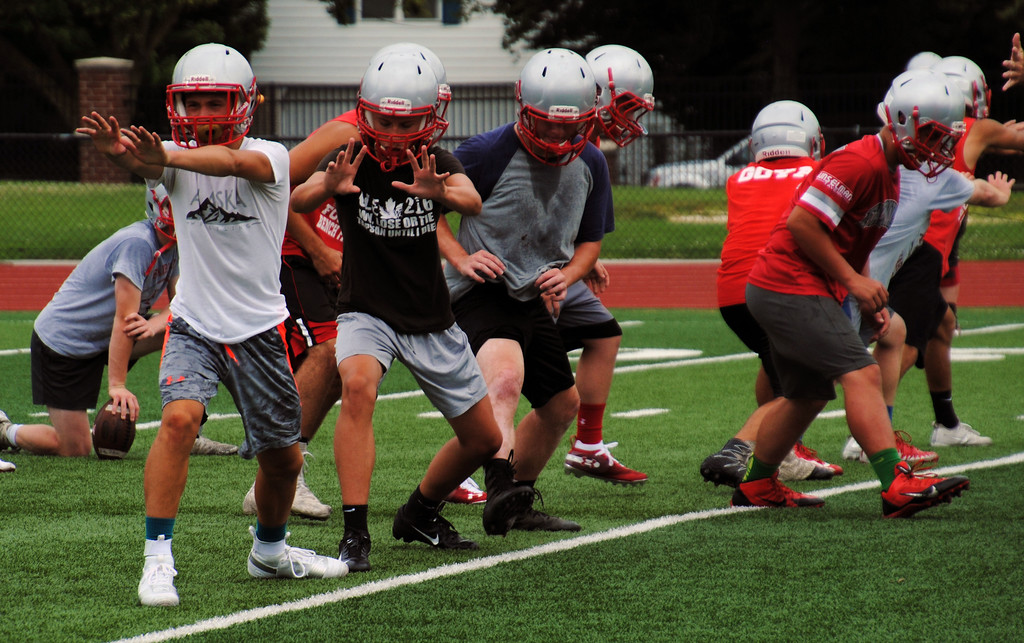 . Jon Behm - The Morning Journal<br> Scenes from Fairview\'s first day of football practice on July 30.